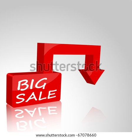 Square with the inscription BIG SALE and a pointer to your item. 3d. - stock vector