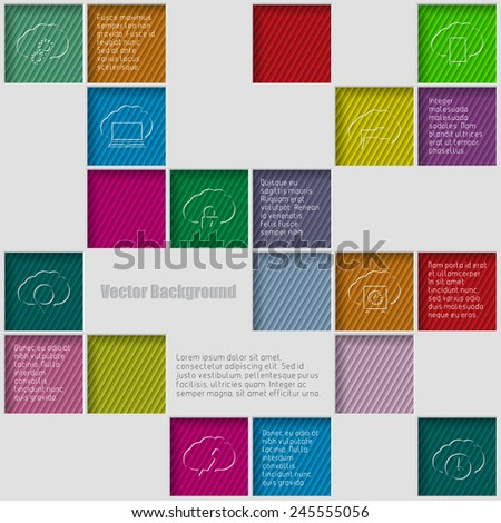 Squares background with infographic elements and description - stock vector