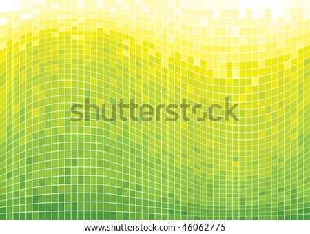 squares mosaic background green tones - stock vector