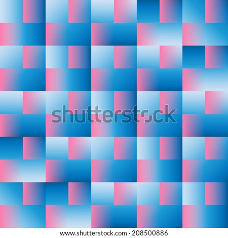 Squares - Multi Gradiets - Blue and Pink - stock vector