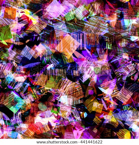 Squares of strokes on a dark backdrop. Ovals, spots in the form of leaves. Orange, purple, red, blue. Abstract seamless vector background. Easy editing. Translucency, overlay, overlap. Randomly. - stock vector