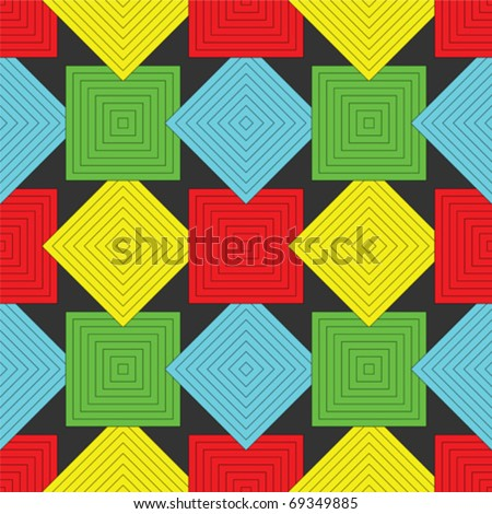 squares pattern, abstract seamless texture; vector art illustration - stock vector
