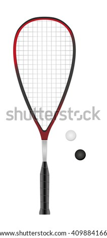 squash or racketball racket and two balls - sport equipment - stock vector