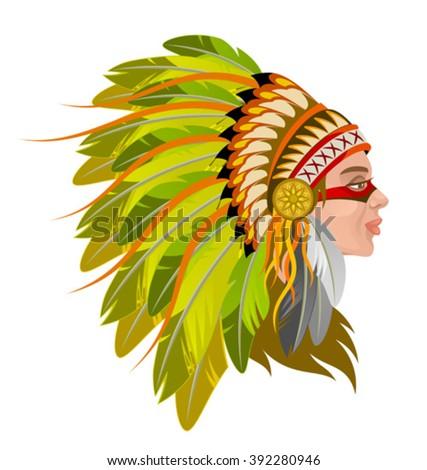 Squaw head - stock vector