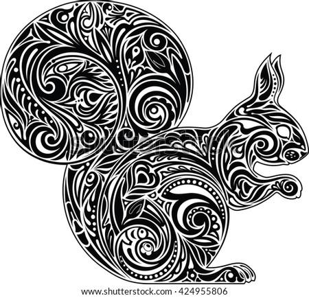 Squirrel, black &white - stock vector