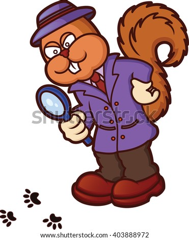 Squirrel Detective Investigating Cartoon Illustration Isolated on White - stock vector