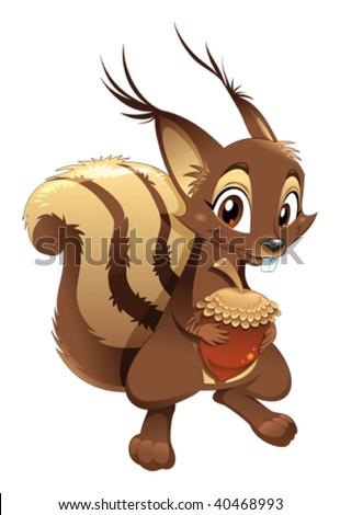 Squirrel, funny cartoon character. - stock vector