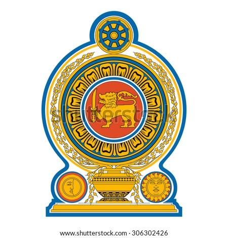 Sri Lanka emblem - national coat of arms - stock vector