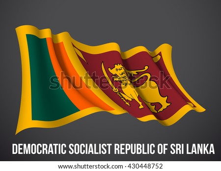 Sri Lanka flag vector waving in the wind illustration isolated on a dark background. Modern banner to the day of independence country. Holiday card with standard Spirit of the union National Day.