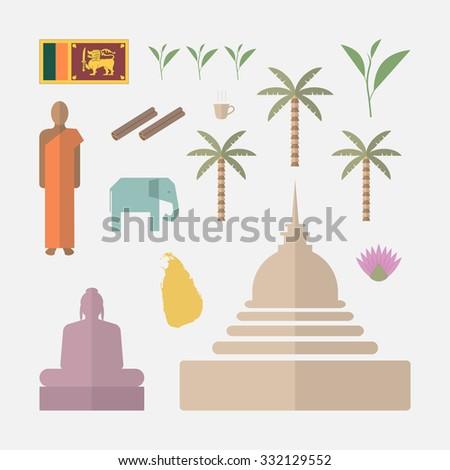 Sri Lanka flat symbols  - stock vector