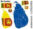 Sri Lanka vector set. Detailed country shape with region borders, flags and icons isolated on white background. - stock photo