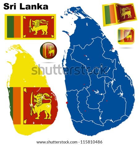 Sri Lanka vector set. Detailed country shape with region borders, flags and icons isolated on white background. - stock vector