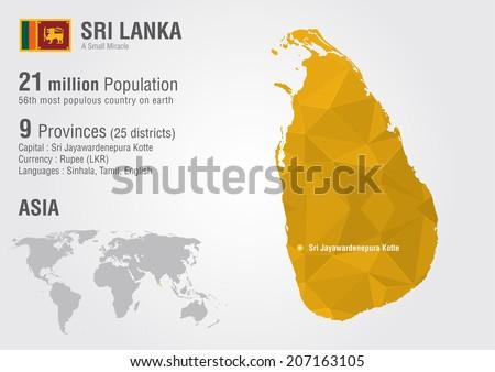 Sri lanka world map pixel diamond stock vector 207163105 shutterstock sri lanka world map with a pixel diamond texture world geography gumiabroncs Images