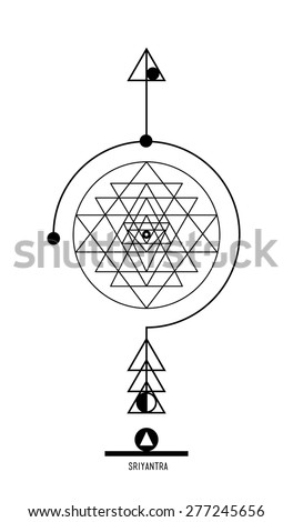 Sri Yantra. Buddhist Hindu tantric symbol  harmony and balance cosmos and the universe. Used in the design tattoo typography logos badges corporate identity  poster yoga Ayurvedic - stock vector