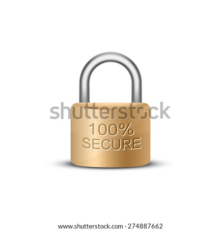 SSL certificate sign for website. Metallic padlock with caption 100 percent secure. Vector illustration - stock vector