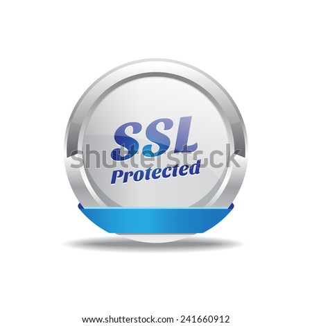 SSL Protected Blue Vector Icon Button