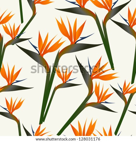 SSpring time contemporary bird of the paradise flowers seamless pattern. Vector file layered for easy manipulation and custom coloring. - stock vector