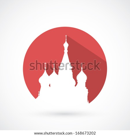 St. Basil cathedral in Moscow - vector illustration - stock vector