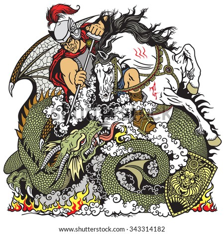 St George the knight on horseback fighting a dragon  - stock vector