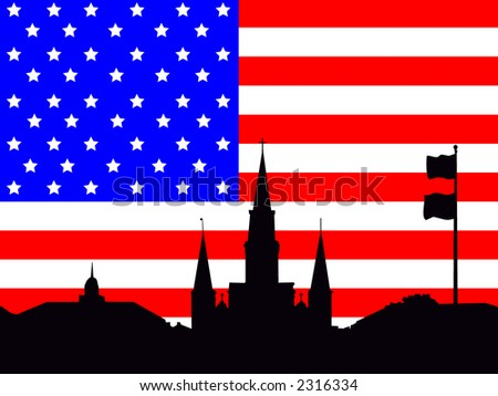 St Louis Cathedral Jackson Square and American Flag stars and stripes illustration - stock vector