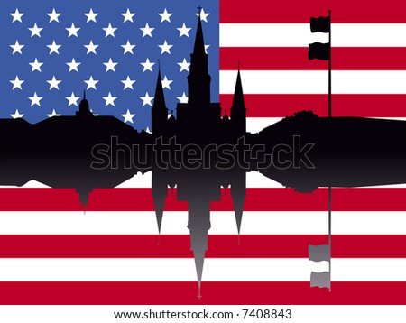 St Louis Cathedral Jackson Square New Orleans with American flag - stock vector