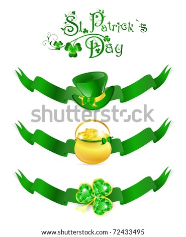 St.Patrick day banners with golden pot, hat and emerald shamrock over white - stock vector
