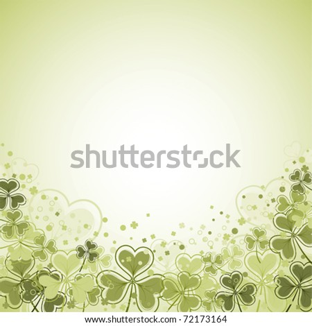 St. Patrick Day frame with clover leaf, vector illustration - stock vector