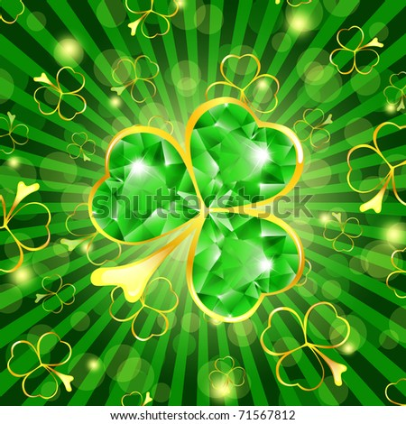 St.Patrick day theme: emerald shamrock over green background - stock vector