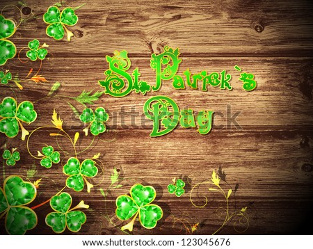 St.Patrick Day With Floral Clover at Natural Dark Wooden Background - stock vector