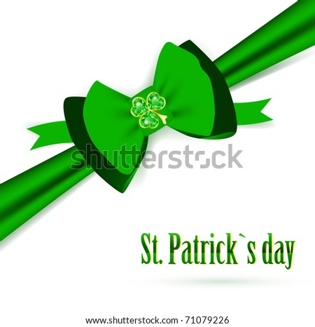 St.Patrick holiday green bow with emerald shamrock over white - stock vector