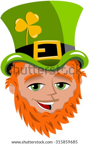 St patrick saint patrick s face stock vector 315859685 shutterstock st patrick or saint patrick s face with tophat and golden shamrock isolated voltagebd Gallery