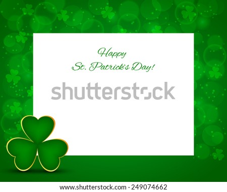 St Patrick's background with card and shamrock - stock vector
