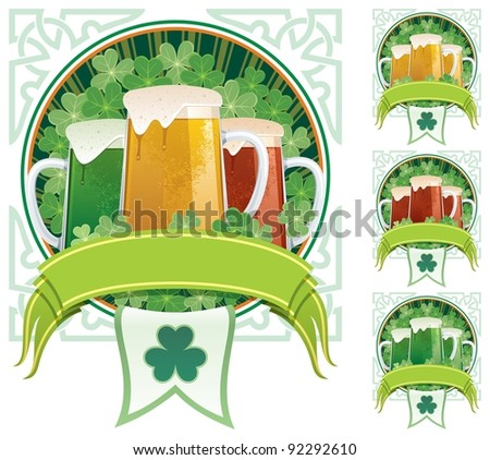 St. Patrick's Beer: Three beer mugs on clover background with copy space under them. 3 additional versions are included on the right. No transparency used. Basic (linear) gradients. - stock vector