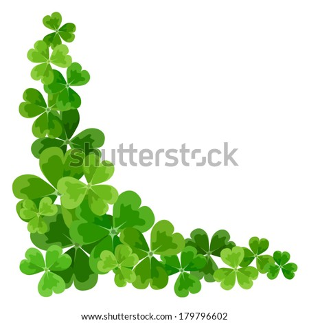 St. Patrick's corner border with shamrock. Vector illustration. - stock vector