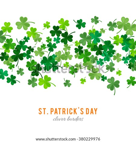 St Patrick's Day background. Vector illustration for lucky spring design with shamrock. Green clover stripe border isolated on white background. Ireland symbol pattern. Irish header for web site. - stock vector
