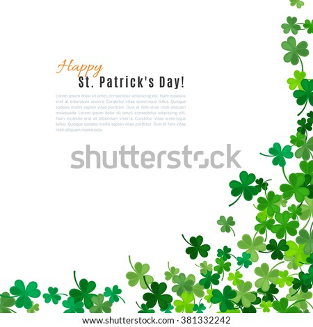St Patrick's Day background. Vector illustration for lucky spring design with shamrock. Green clover border and frame isolated on white background. Ireland symbol pattern. Irish header for web site. - stock vector