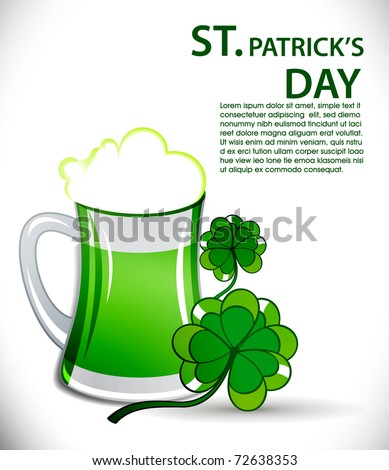 St. Patrick's day background with beer glass and Clover leaves, Vector illustration