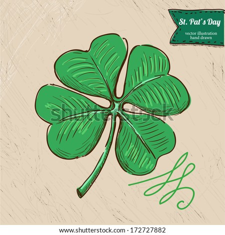 St. Patrick's Day background with hand drawn sketch illustration and bubble banner,  vector illustration hand drawn with textured background - stock vector