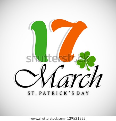 St. Patrick's Day background with text 17 March. EPS 10. - stock vector