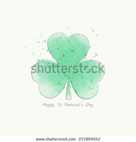 St. Patrick's day card. Clover leaf. Watercolor elements. Vector illustration, EPS 10. - stock vector