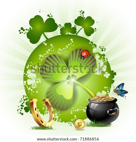 St. Patrick's Day card design with butterfly and clover - stock vector