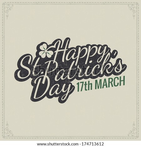 St. Patrick's day card - vector typography poster