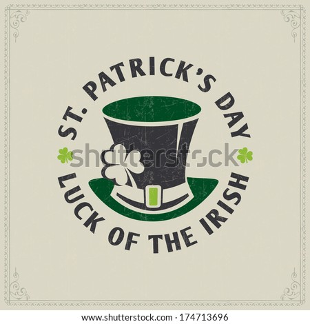 St. Patrick's day card - vector typography poster  - stock vector