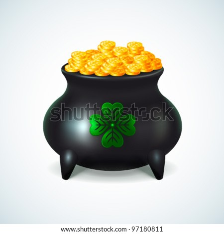 St Patrick's day cauldron - vector illustration - stock vector