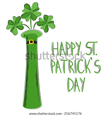 """St Patrick""""s Day clovers in hat - stock vector"""