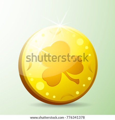 St Patricks Day Gold Coin With Clover