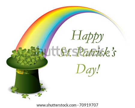 St. Patrick's day green hat of a leprechaun with rainbow - stock vector