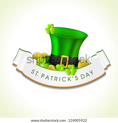 St. Patrick's Day greeting card or background with Leprechaun hat, gold coins and shamrock. EPS 10. - stock vector