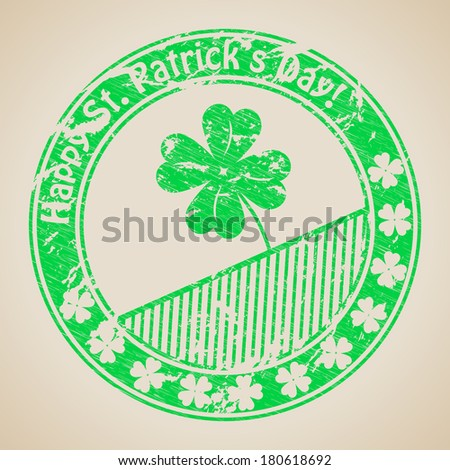 St Patrick's day grunge rubber stamp design - stock vector