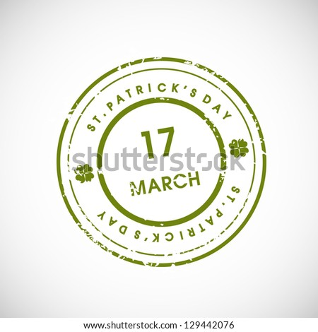 St. Patrick's Day grungy rubber stamp with 17 March text. EPS 10. - stock vector